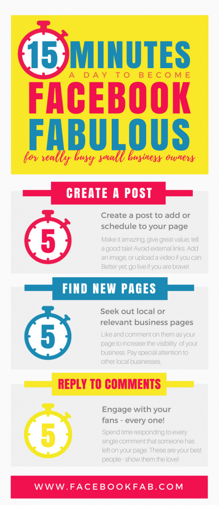 15 Minutes to Facebook Fabulous Infographic a Facebook Course by www.myoutsourcedmarketingteam.com